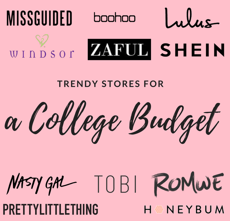 trendy stores for a college budget